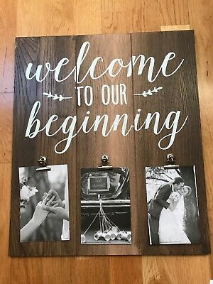 """Wedding Wooden Welcome sign - """"Welcome to our beginning"""""""