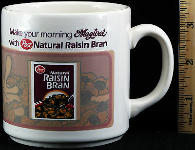 Post Natural Raisin Bran Heat Activated Mug Vintage 1985 Cereal Cup Coffee Tea