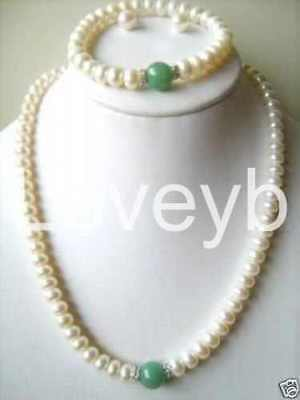 White Akoya Cultured Pearl/Green Emerald Beads Bracelet Necklace Earrings set