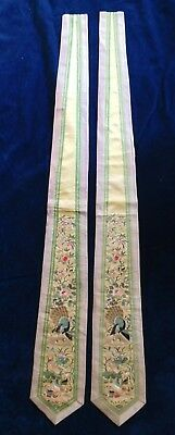 Pair Of Antique Chinese Silk Finely Embroidered Sash / Panels, Ducks / Peacock