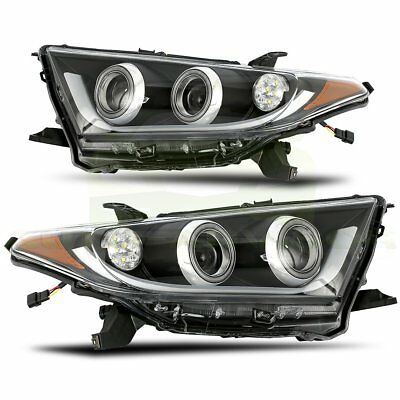 For 2011-2013 TOYOTA HIGHLANDER Pair Black Housing Clear Lens Head Lights