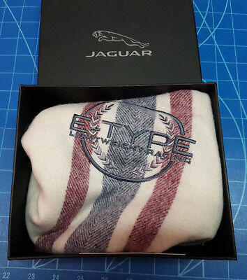 Jaguar E-Type Lightweight Racing Wool Scarf. New in Jaguar Box with Tags 6' Long