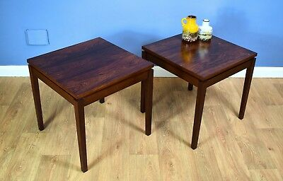 Pair of Mid Century Retro Vintage Danish Rosewood Side Lamp Tables 1960s 70s