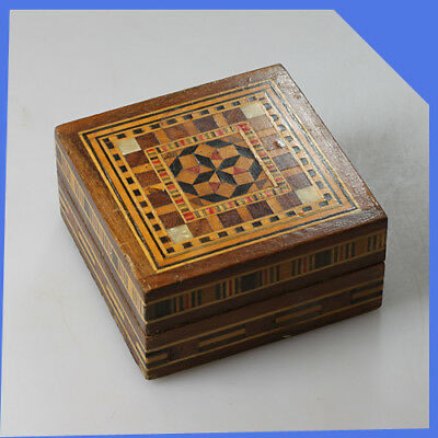 vintage old rare small England Wooden Storage Jewellery Trinket Box Casket Chest