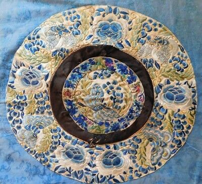 Antique Chinese Embroidered Silk Circular Panel On Larger Silk Round