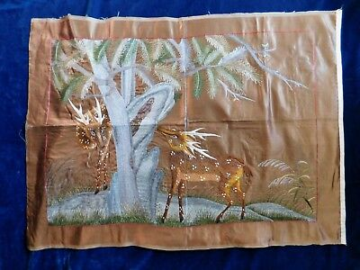 Antique Chinese Embroidered Silk Panel, Deer In A Forest, 82 X 62 Cm