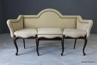 Antique Rosewood Settee Sofa Window Seat Cream Upholstery