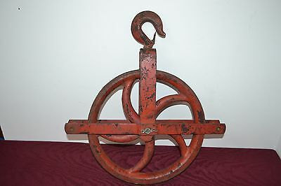 "Antique 12"" Cast Iron Well Pulley Barn Industrial Steampunk 5 Spoke"