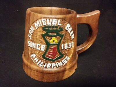 Wood SAN MIGUEL BEER Mug/Cup - Rare Philippines carved stein cup