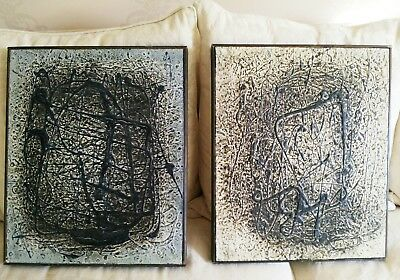 2 x Mid Century abstract expressionist drip paint oils on board /  Pollock black