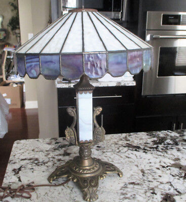 Antique Cast Iron Tiffany Style Table Lamp (Working)