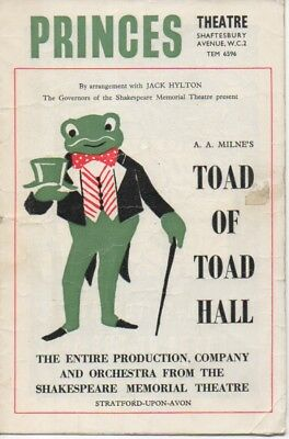 Princes Theatre programme Shakespeare Company Toad of Toad Hall 1954 Leo McKern