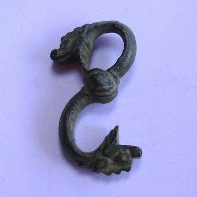 Viking Ancient Artifact Bronze Pendant Amulet With Two Sea Monsters Heads