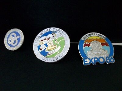 Three commemorative pins from 1986 Vancouver Expo