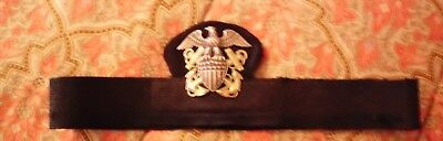 WWII US Navy Officers Dress Hat Band with Insignia