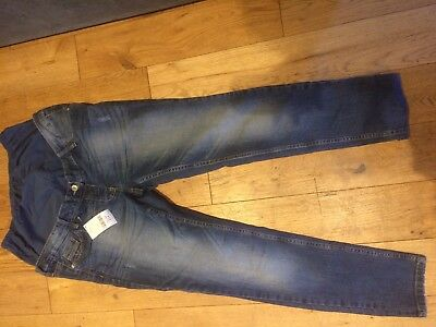 Next Skinny Blue Maternity Jeans Size 12 Short Over Bump