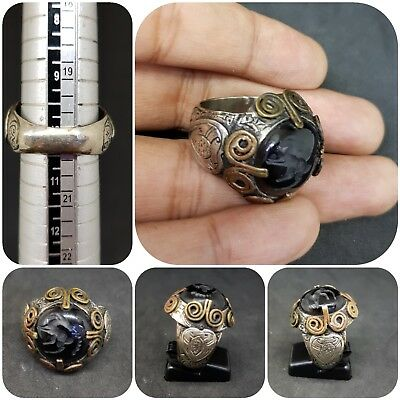 Vingate silver mix and brass stunning old Ring intaglio deer black Agate stone #