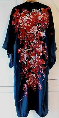 Antique / Vintage Heavily Embroidered Kimono, Birds / Flowers, Red / Pink Thread