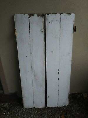 "Vintage White Shutters 12"" x 48"" each with chippy paint outdoor Shabby Cabin"