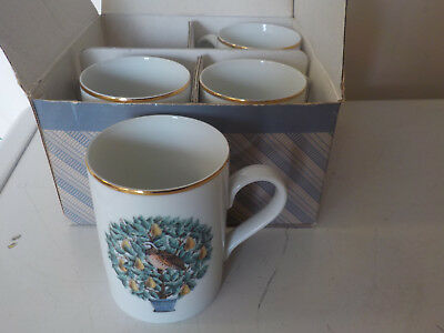 Avon Partridge in a Pear Tree Coffee or Tea cups, set of 4 -12 Days of Christmas