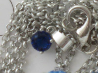 EFFY Blue Stone Necklace Silvertone Chain New