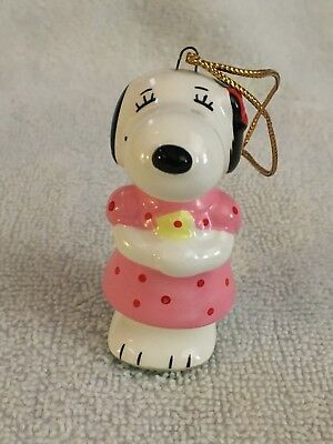 Vintage 1970s Peanuts Belle Christmas Ornament Snoopy's Sister Pink Dress