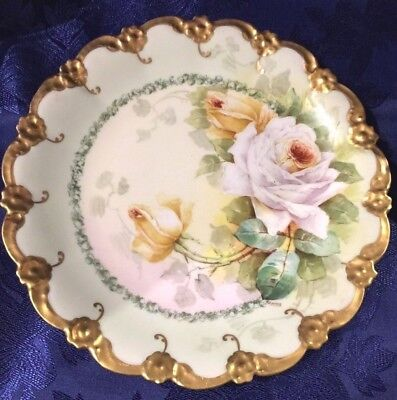 Vintage CORONET Limoges France Hand Painted Flowers & Gold Cabinet Plate Signed