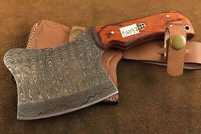 Handmade Pattern Welded Damascus Steel Axe-Functional-Bush Craft-Camping-Dh76