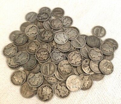 Rare Lot of 100 Unsearched Mercury SILVER DIMES Coins (Lot 11)