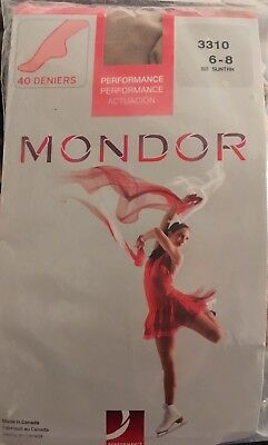 MONDOR 3310 Performance Footed Tights Ice Skating Age 6-8 Suntan 40 Denier
