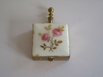 Vintage Old Brass/ Bronze Ladies Portable Travelling Pocket Enamel Ashtray