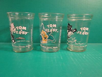 """(3) 1990 -1991 Turner Entertainment Co. """"Tom & Jerry"""" Welch's Juice Glasses"""