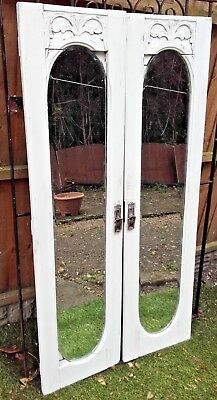 Pair Of Vtg Mirrored Doors French Chateau Distressed White Shabby Chic Style