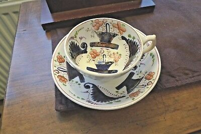 "Mid 19th Century Gaudy Welsh Basket Pattern Cup & Saucer ""NO DAMAGE"""
