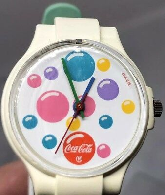 COCA COLA COKE WATCH SWISS MOVEMENT Color Bubbles DIAL SMALL SIZE BAND Works