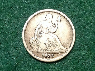 1838 o Seated Liberty Dime  STRONG DETAIL & BEAUTIFUL NO STARS TYPE!!   L@@K!!