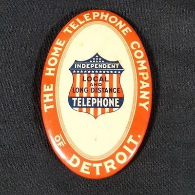 Antique Celluloid Pocket Advertising Mirror Home Telephone Company Detroit