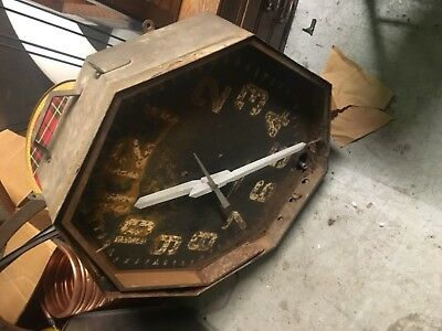 All american clock company clock 8 sided early vintage neon clock for restore