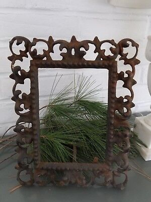 VTG Antique Cast Iron Ornate  Standing Picture Frame 8 x 10