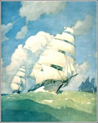N C Wyeth Painting In The Bank Of Boston 8X10 Fine Art Print Fp_1997201117