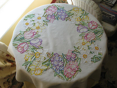 Beautiful and incredibly intricate cut work vintage tablecloth - Spring flowers