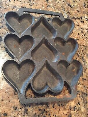 Vintage Cast Iron Metal 9-Cavity Heart Themed Muffin Cookie Jello Baking Mould
