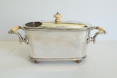 UNUSUAL ANTIQUE ENGLISH SILVER PLATED SPOON WARMER, c. 1900