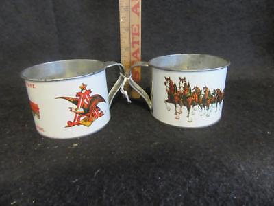 Vtg Pair Budweiser Clydesdale Tin Cups Mugs Anheuser Busch A&eagle King Of Beers