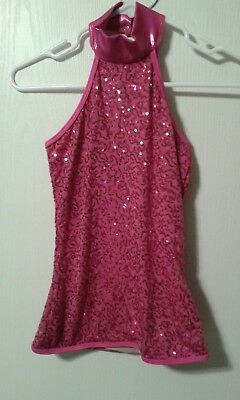 Balera Pink Sequined Dance Top - Small Adult