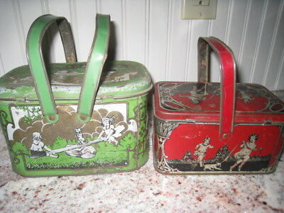 2 VINTAGE1930'S KIDS Lunch Pails / LUNCH Box w Handles Red & Green Girls & Dogs