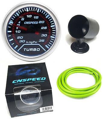 """Smoked Face Boost Gauge 52mm 2"""" With Green Silicone Hose and Dash Pod  - 35psi"""