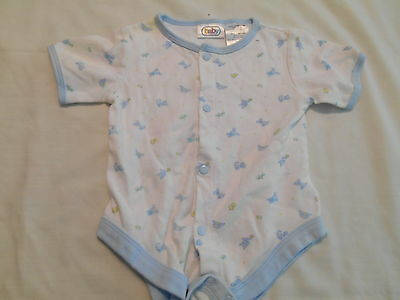 Baby Connection 100% Cotton 3-6 Months White Animal One Piece