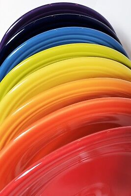 Fiesta Fiestaware, New Flawed 2nds, Lot of 8 Dinner Plates, Mixed Color Set