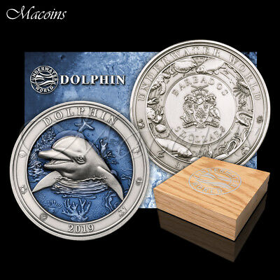 Dolphin Underwater World 2019 Barbados 3 Oz 999 Silver Antiqued Coin